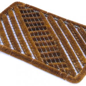 the bottle brush mat shows coir fibres mounted onto aluminium frame that scrapes shoes hard and traps dirt to keep floors clean.